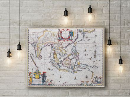 Willem Blaeu: Map of South East Asia. Fine Art Canvas.